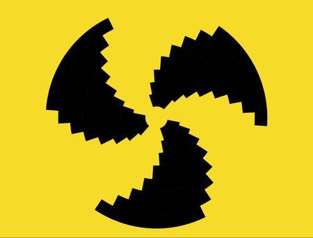 radiactividad: S�mbolo de la radiactividad con negro en sectores amarillas