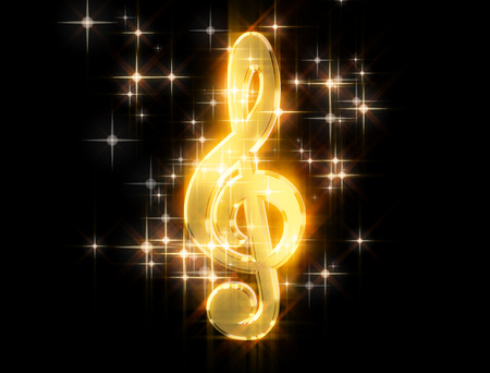 Golden treble clef, surrounded by stars on a black background