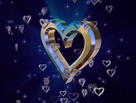 heart of gold on a blue background surrounded by small shiny hearts photo