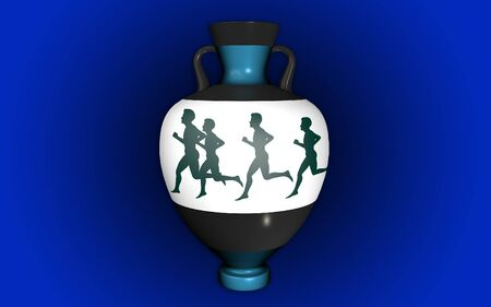 earthenware: vase with a blue background with handles in antique style depicting runners Stock Photo