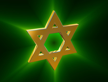 zionist: stylized image Star of David made of gold in the glow rays Stock Photo