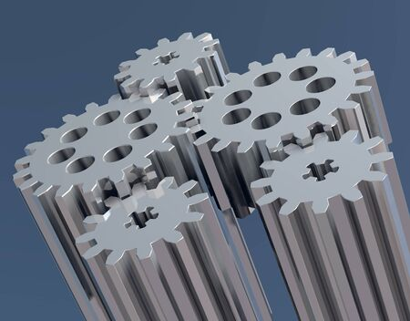 toothed: composition of several linked in rotation toothed gears Stock Photo