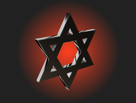kabbalah: monochrome stylized image of the Star of David made on a dark background