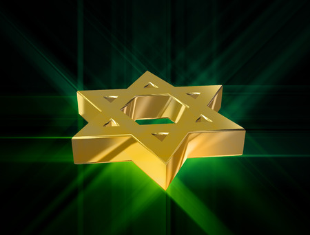 ishtar: stylized image Star of David made of gold in the glow rays Stock Photo