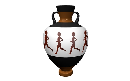 earthenware: a vase on a white background with handles in antique style depicting runners