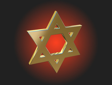 kabbalah: Image Star of David made of gold on a dark background
