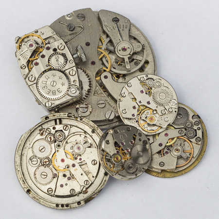 ruby stone: Mechanism of old wristwatches with gears and wheels