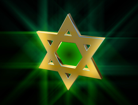 monotheism: among rays of gold Star of David Stock Photo