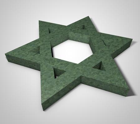 zionist: stylized image Star of David made of stone malachite Stock Photo