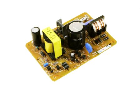 componentes: La tarjeta de alimentaci�n con componentes de radio Foto de archivo