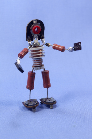 components: homemade puppet man of the electronic components