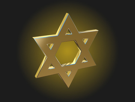 monotheism: Image Star of David made of gold on a dark background