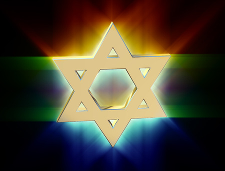 monotheism: stylized image Star of David made of gold in the glow rays Stock Photo