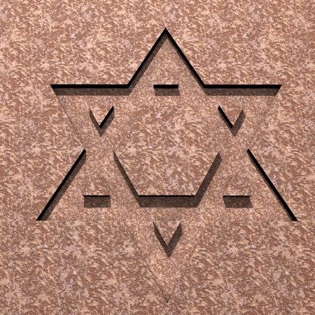 ishtar: stylized image Star of David made in stone Stock Photo