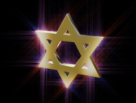 stylized image Star of David made of gold in the glow rays Stock Photo
