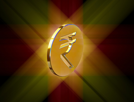 Indian Rupee Symbol Image In The Form Of Coins Stock Photo Picture