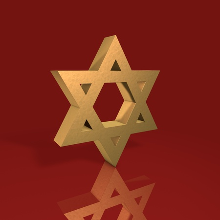 stylized image Star of David made of gold on a red background Stock Photo