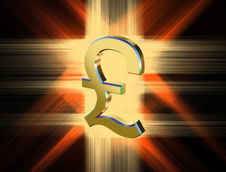 three-dimensional image of golden pound symbol among the colored rays Stock Photo
