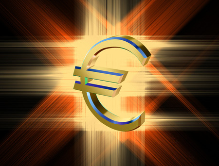 three-dimensional image of the golden Euro symbol among the colored rays
