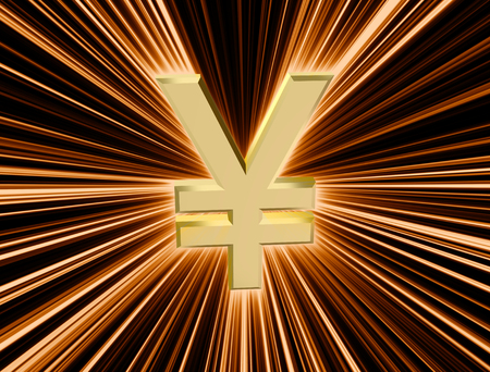 three-dimensional image of golden yen symbol among the colored rays
