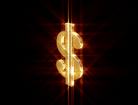 three-dimensional image of the golden dollar symbol among the colored rays