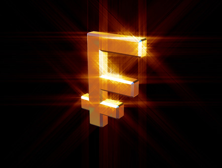three-dimensional image of the gold franc symbol among the colored rays Stock Photo