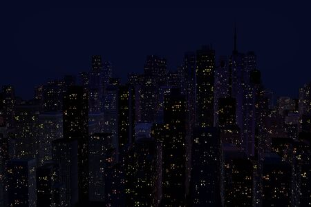 night landscape with tall houses Stock Photo