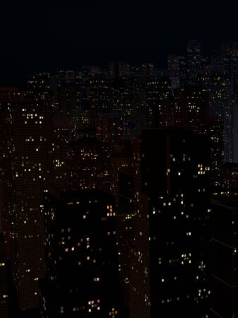 night landscape of a city with tall houses