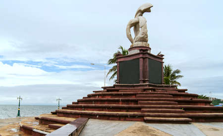 promontory: Sculpture with sky at Laem-tean promontory Chonburi in thailand
