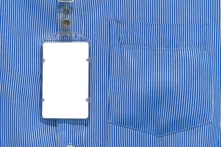 cardholder: white and blue lined pattern design on office shirt with Blank ID card