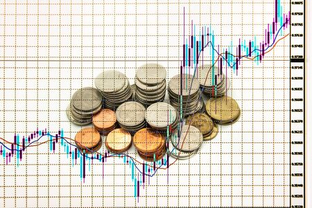 investment concept: stock chart in monitor, investment concept Stock Photo
