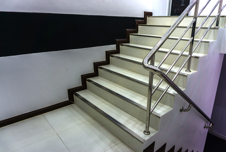 Office Stairs With Stainless Steel Railing Stock Photo   77668479