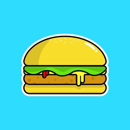 The cute hamburger cartoon character Stock Illustratie