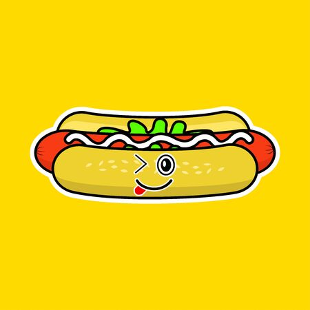 The cute hot dog animation
