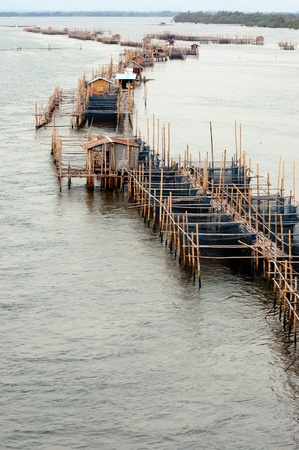 Aquaculture fishery pond in entrance river, Chanthaburi Thailand. Stock Photo - 12193502