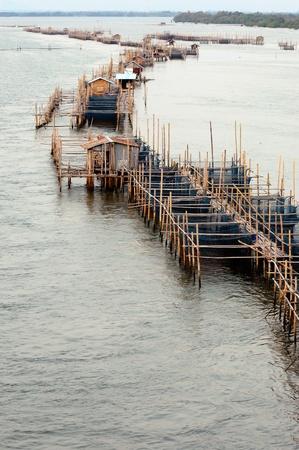 fish rearing: Aquaculture fishery pond in entrance river, Chanthaburi Thailand. Stock Photo