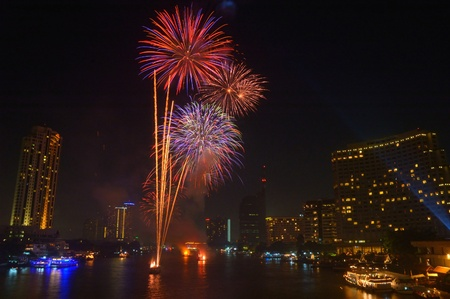Fireworks display in Loy Krathong Festival Bangkok, Thailand  photo