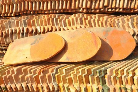 View of a stack of pattern of the roof tiles in old temple, Bangkok, Thailand  photo