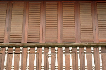The traditional wooden balcony at 100 years old town of Chanthaburi,Thailand. photo