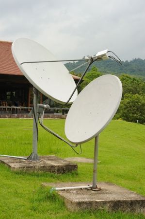 Old twin Satellite dish. photo