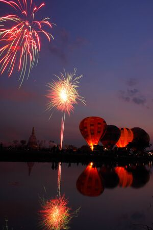 The fireworks show in the night at  International Balloon Festiva, Thailand.