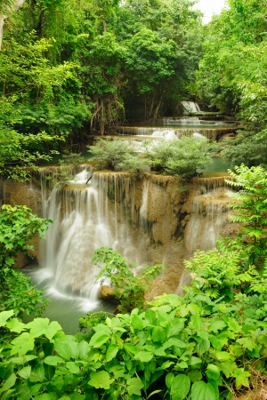 Viewpoint Huay Mae Kamin waterfall.  in National Park, Thailand. photo