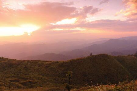 Nice sunset scene in mountains, Thailand. photo