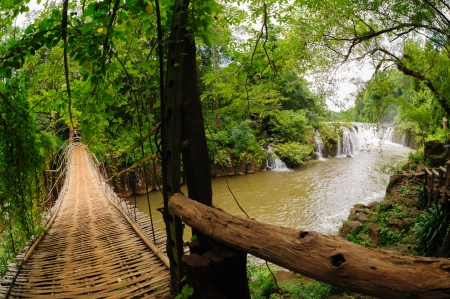 The bamboo rope bridge in Tad Pha Souam waterfall Bajeng national park, Paksa South Laos   Stock Photo