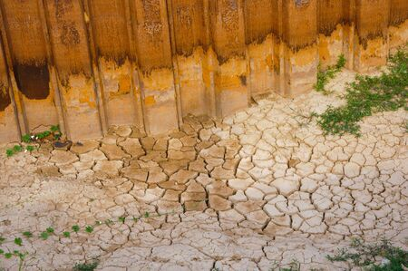 Dried soil cracked texture in site construction  photo