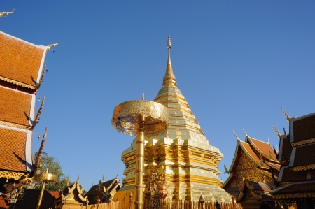 Wat Phra That Doi Suthep is a Theravada Buddhist temple remains a popular destination for tourists in Chiang Mai Province, Thailand  photo