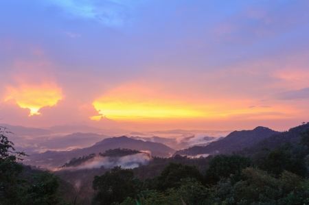 Beautiful sunset beam on forest landscape after rain storm in thailand  photo