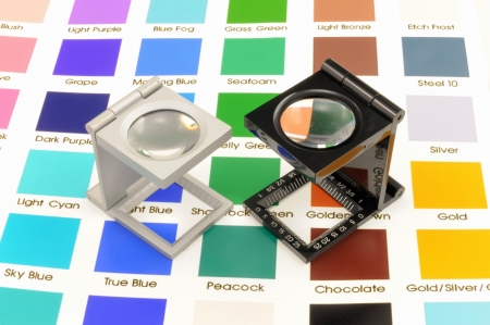 Twin magnifier loupes color management on color chart  photo