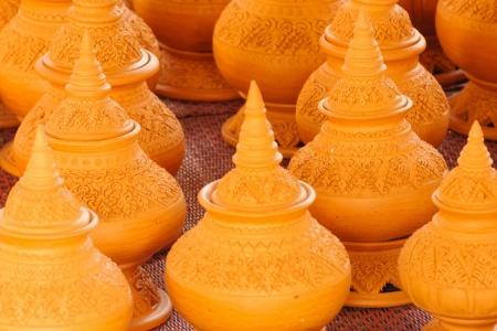 ceramicist: Craft pottery in local market Thailand