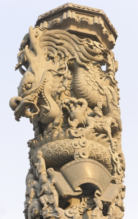 Stone dragon carving pillar in Chinese temple  photo